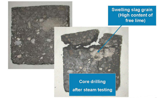 Figure 2: core drilling   before (left) and after (right) steam testing