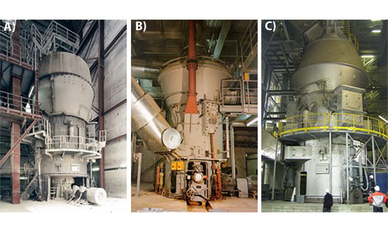 Figure 1: MPS vertical roller mills for A) raw materials; B) coal and C) cement